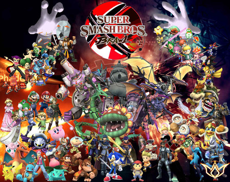 super smash bros. - fighting, mario, game, pokemon, brawl, hands, meta knight, others, peach, sonic, samus