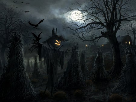 Scarecrow - hd, cg, halloween, dark, concpet art, moon, scarecrow, horror, night, scare, rado javor, crow, fantasy, pumpkin, adventure, art, digital art