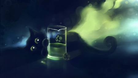 Playful Kitty - dreamy, kitty, paw print, black, cat, cute, paws, fantasy, green, kitten