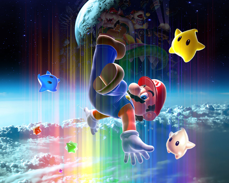 Colorful Galaxy - stars, mario, galxy, space