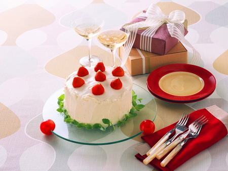 To Celebrate Canada Day - cake, red and white, wine, cutlery, plates, box, gift, strawberries, vanilla