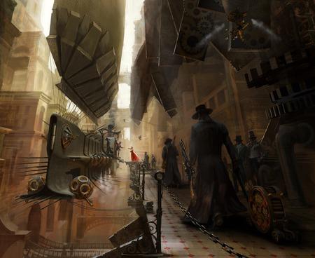 steam punk - gun, fantasy, zeppelin, gears, steampunk