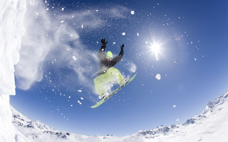 Snowboarding - beautiful, man, sky, winter, snow, awesome, nature, snowboarding, sports