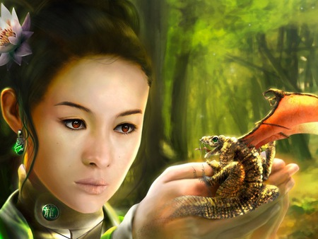 dragon - palms, asian, wallpaper, christian, dragon, fantasy
