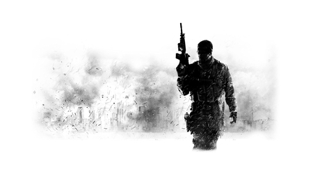 MW 3 - hd, soldier, action, black and white, video game, black, call of duty- modern warfare, adventure, call of duty- modern warfare 3, modern warfare, call of duty, weapon