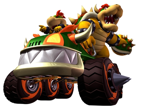 Bowser and Bowser Junior - bowser, mario, bowser junior, mario kart