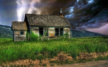 ABANDONED HOUSE - house, dark sky, grass, abandoned