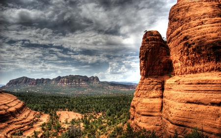 Rocks of Sedona - rock, mountains, cloudy, nature, forests, formations, cal, beautiful, valley