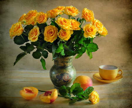 still life - pretty, rose, yellow, vase, beautiful, still life, fruit, photography, nice, gentle, flowers, beauty, harmony, photo, lovely, roses, elegantly, cool, bouquet, cup, flower, peach