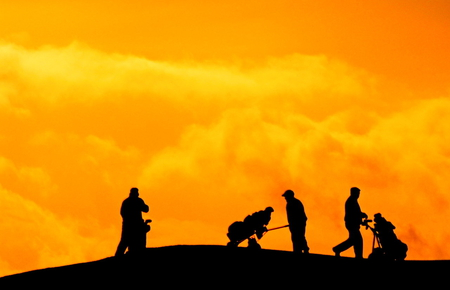 gulfing_sunrise - gold, sport, mans, golf, silhoutte, nature, sunrise
