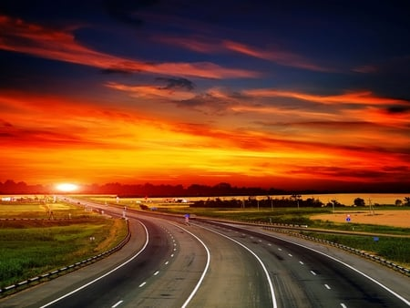 Sunset Road - Beaches & Nature Background Wallpapers on ...