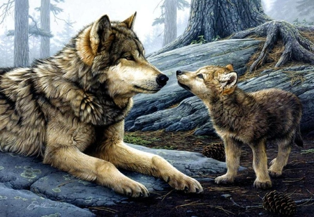 Wolf And Pup - rocks, pup, wolf, trees