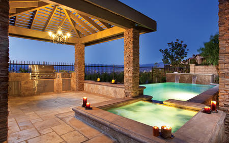 Jacuzzi near the sea - splendid, cabin, trees, pool, lights, candles, plants, jacuzzi, blue sky