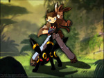Leon and his pokemon evee and umbreon