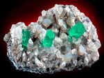 INCREDIBLE!!! Three Beryl var. Emeralds on Calcite crystals!!