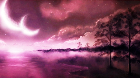 Purple Dawn - planets, image, grass, 3d and cg, background, fog, nice, multicolor, wallpaper, paisage, wood, art, dawn, purple, moonlight, violet, white, beautiful, leaves, araucaria, smoke, scenery, night, reflex, horizon, lakes, customized, bri, mist, paisagem, dark, nature, desktop, misty, reflected, branches, pc, scene, foggy, clouds, cenario, scenario, beauty, forests, moons, widescreen, paysage, cena, black, trees, pines, sky, abstract, panorama, water, cool, awesome, computer, photoshop, landscape, colorful, trunks, picture, photography, haze, darkness, grove, mirror, pink, stars, amazing, photo, multi-coloured, view, magenta, colors, leaf, universe, colours, reflections, natural