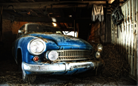 Oldtimer - oldtimer, blue, car, barn