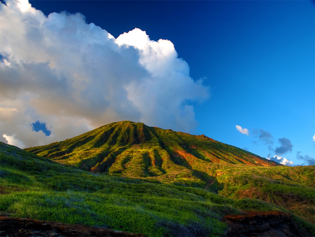 Like a volcano - image, background, beautiful, clouds, mountain, green, beauty, blue, view, colors, shadow, sky, awesome, nature, white, field, landscape