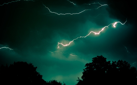 Teal Lightning Forces Of Nature Amp Nature Background
