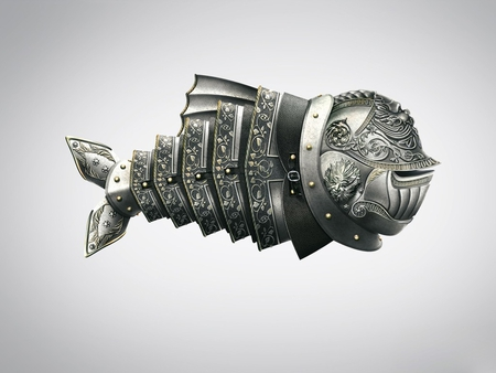 Armor fish - armor, fish, wallpaper, minimalism, fantasy art