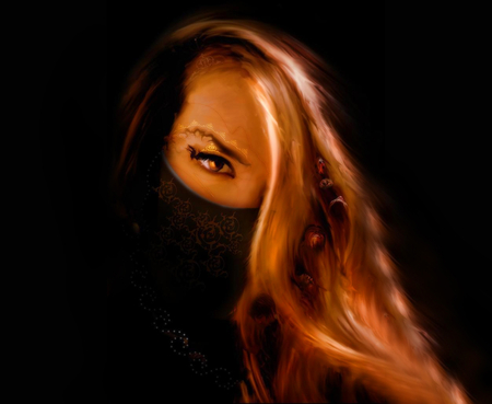 Hidden Mask - blonde, cg, mad, warrior, hidden mask, 3d, dark, mask, fantasy, tattoo, alone, female, lady, darkness, fear