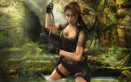 Welcome To The Jungle - games, female, video games, tomb raider, croft, gun, lara croft, legend, weapon
