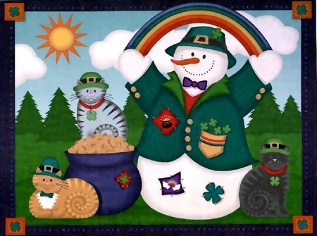 March Snowman - snowman, pot of gold, cats, shamrock