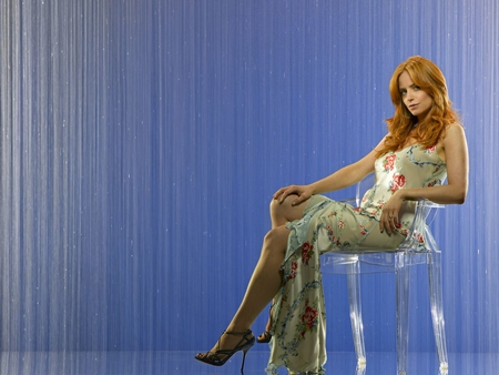 Jaime Ray Newman - red, dress, redhead, eureka, beautiful, woman, eastwick, hair, newman, hot, face, ray, babe, legs, sexy, heels, lips, girl, lady, eyes, jaime