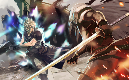 Cloud VS Sephiroth - ff7, ffvii, games, final fantasy 7, white hair, video game, game, video games, gloves, spiky hair, anime, final fantasy, long hair, sephiroth, swords, cloud, final fantasy dissidia, advent children, blonde hair, final fantasy vii, weapons, cloud strife, battle, dissidia, fight
