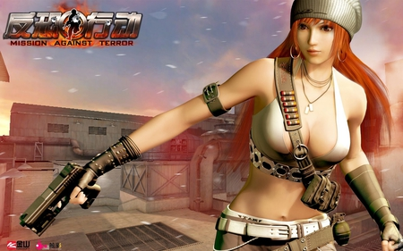 Mission Against Terror Girl - hot, game girl image, orange hair, mission against terror