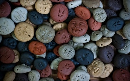 Smiling Faces - colored, round, faces, stones, multi, abstract