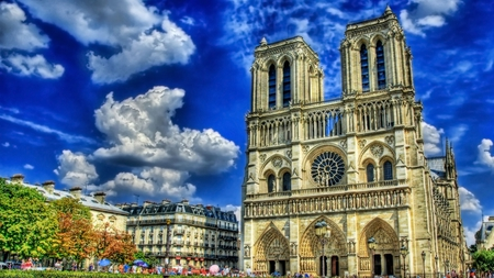 cathedrale notre dame - cathedral, religious, sky, clouds, building, photography, beauty, hdr, manmade
