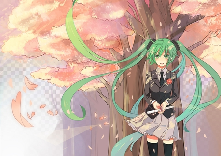 Hatsune Miku - pretty, orange, cg, clouds, fog, nice, anime, aqua, beauty, anime girl, vocaloids, school uniform, art, twintail, skirt, black, miku, sky, singer, aqua eyes, cute, school, hatsune, cool, waiting, digital, awesome, white, idol, graduation, fence, brown, hatsune miku, tie, beautiful, thighhighs, leaves, program, artisitc, scroll, vocaloid, outfit, music, diva, song, girl, stockings, uniform, flower, petals, virtual, aqua hair