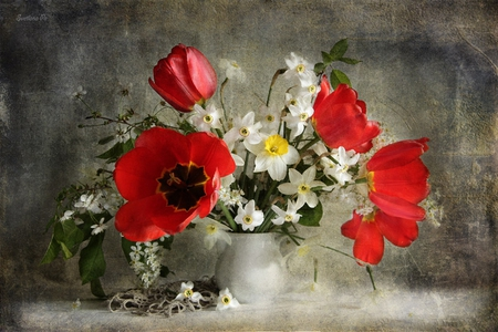 still life - pretty, lace, daffodils, beautiful, old, still life, photography, nice, flowers, beauty, tulips, tulip, harmony, photo, lovely, spring, elegantly, cool, bouquet, flower, daffodil, kettle