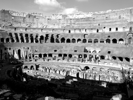 B&W Rome - photo, architecture, photograph, image, roman, ancient, black and white, colosseum, rome, picture, europe, photography, landmark, italy