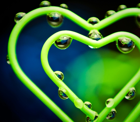Green Heart - drops, romance, water, green, abstract, heart, love
