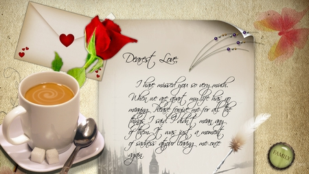 Letter to my Love - hearts, firefox persona, letter, magnet, wife, husband, lover, envelope, coffee, cappacino, button, rose, spoon