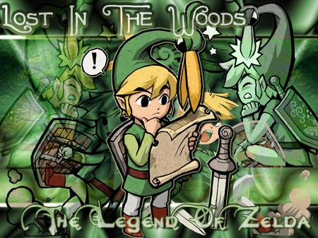 Toon Link Lost in the woods - toon link, ezlo, zelda, shield, video games, sword, map