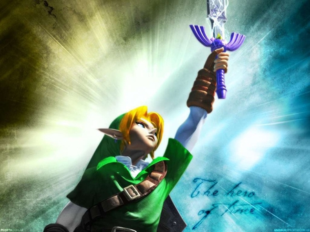 Link Wields the master Sword - master sword, video games, link, zelda