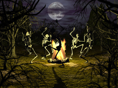 Bone dance - conjuring, halloween, abstract, gothic, undead, dancing, full moon, bones, campfire, scary, trees, 3d, wallpaper, coven, haunted, skeleton, skeletons