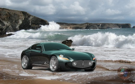 Maserati A8GCS BERLINETTA TOURING-on the sands - water, waves, vista logo, maserati a8gcs berlinetta touring-on the sands