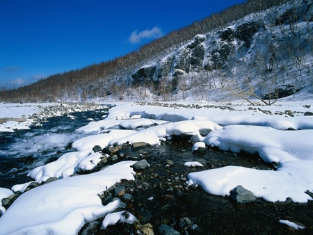 chinese snowscape  - mountain, snowscape, snow, river, winter