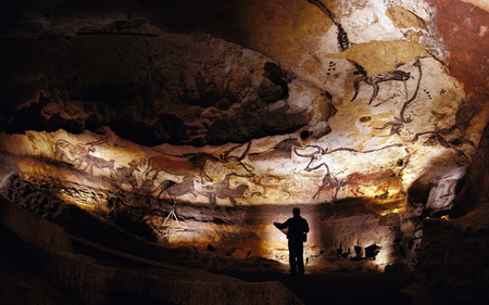 Lascaux Caves - lascaux, wonderful, stunning, religious, spiritual, caveman, animism, nice, art parietal, colored, homo sapiens, black, cool, france, paleolithic, neanderthal, awesome, history, caves, bulls, wall art, colorful, beautiful, old, cave, picture, animal, photography, stone, wild, painting, cavemen, prehistory, bull, other, animals, amazing, ancient, colors, dark, drawing, prehistoric, prehistoire