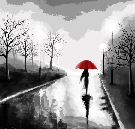Rain Walk - red, wet, umbrella, sky, woman, painting, walk, rain, way