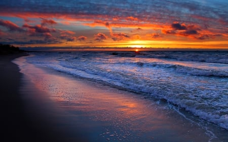 BEACH at DUSK - beach, sunset, beautiful, clouds