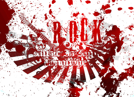 rock music is my language - red, rock, music, words, graffiti, language, abstract, splash, nice, cool, awesome, white