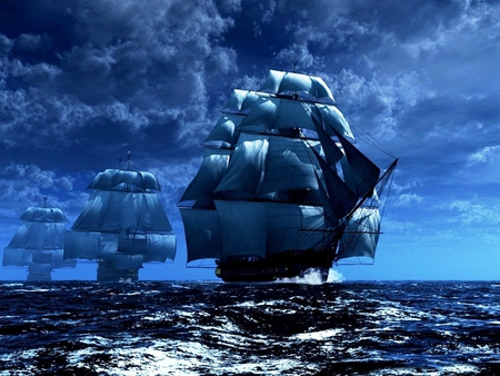 Blue Horizons - ships, boats, ocean, sailing, magical, clouds, blue