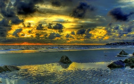 Beautiful Sunset - beautiful, sunset, clouds, sea, beach, sand, stones, splendor, beauty, evening, reflection, blue, lovely, view, ocean, waves, sky, paradise, peaceful, nature