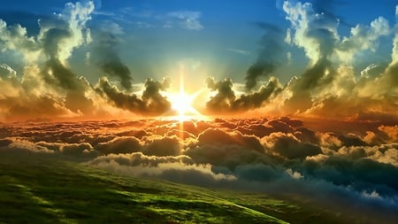 SUNSET ABOVE THE CLOUDS - Sunsets & Nature Background Wallpapers ...