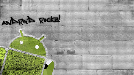 Android'Rocks - outside, bricks, android rocks, green, tiles, wall, patterns, android
